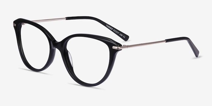 Turner Black Acetate-metal Eyeglass Frames from EyeBuyDirect, Angle View