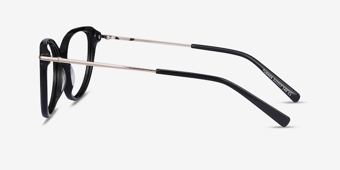 Turner Black Acetate-metal Eyeglass Frames from EyeBuyDirect, Side View