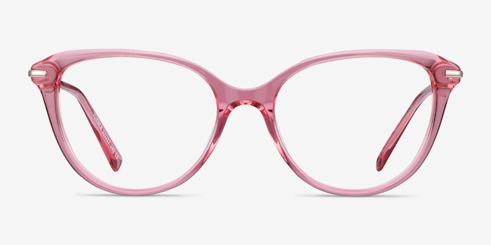 Turner Clear Pink Metal Eyeglass Frames from EyeBuyDirect, Front View