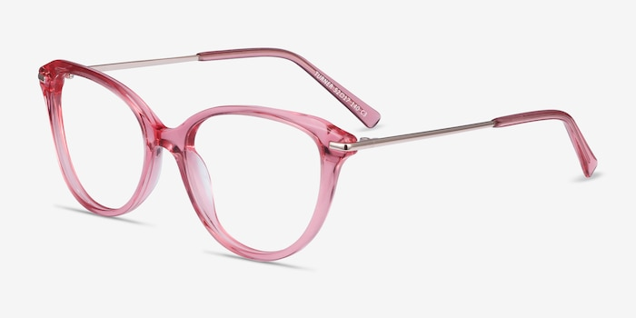 Turner Clear Pink Acetate-metal Eyeglass Frames from EyeBuyDirect, Angle View