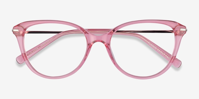 Turner Clear Pink Metal Eyeglass Frames from EyeBuyDirect, Closed View
