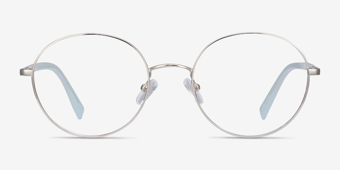 Thea Silver Acetate-metal Eyeglass Frames from EyeBuyDirect, Front View