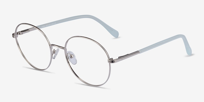 Thea Silver Acetate-metal Eyeglass Frames from EyeBuyDirect, Angle View