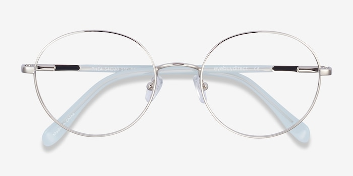 Thea Silver Acetate-metal Eyeglass Frames from EyeBuyDirect, Closed View