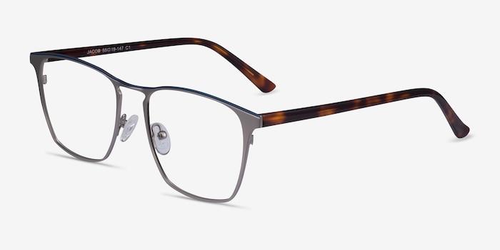 Jacob Gunmetal & Tortoise Acetate-metal Eyeglass Frames from EyeBuyDirect, Angle View