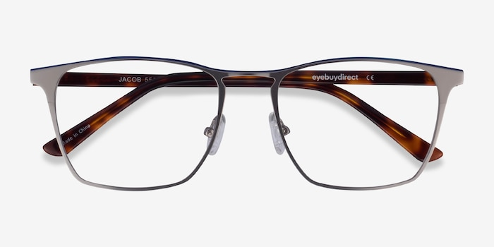 Jacob Gunmetal & Tortoise Metal Eyeglass Frames from EyeBuyDirect, Closed View