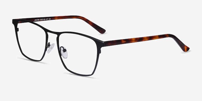 Jacob Black & Tortoise Acetate-metal Eyeglass Frames from EyeBuyDirect, Angle View
