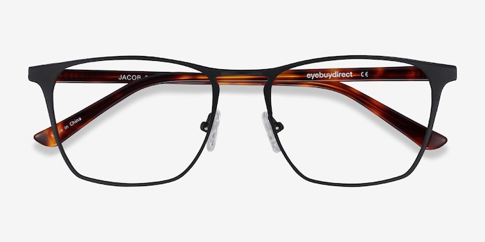 Jacob Black & Tortoise Acetate-metal Eyeglass Frames from EyeBuyDirect, Closed View