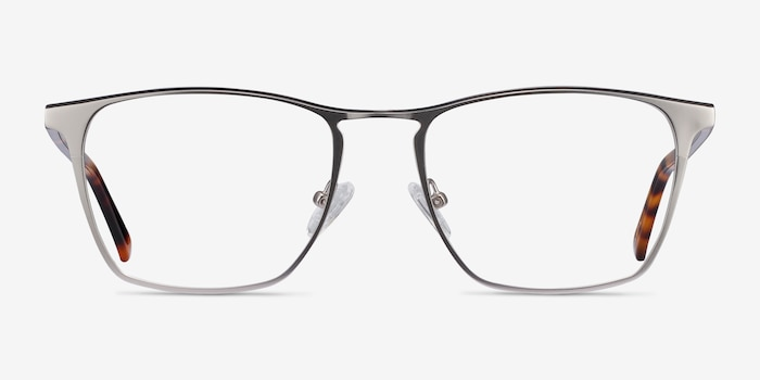 Jacob Silver & Tortoise Acetate Eyeglass Frames from EyeBuyDirect, Front View