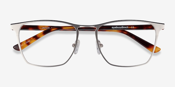 Jacob Silver & Tortoise Acetate Eyeglass Frames from EyeBuyDirect, Closed View