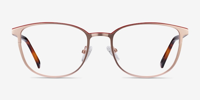 Guide Rose Gold Acetate Eyeglass Frames from EyeBuyDirect, Front View