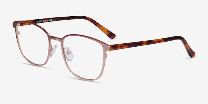 Guide Rose Gold Acetate Eyeglass Frames from EyeBuyDirect, Angle View