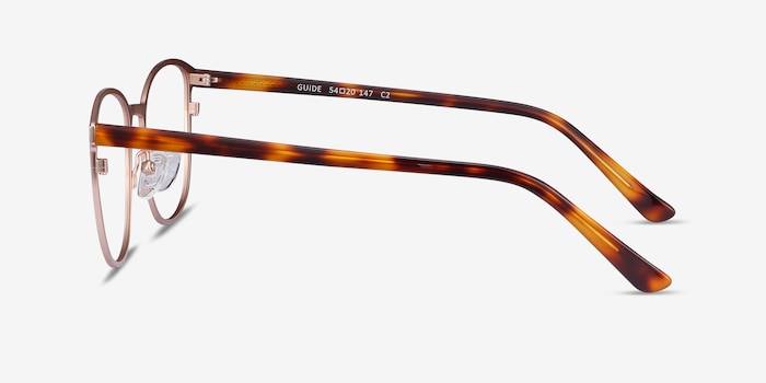 Guide Rose Gold Acetate Eyeglass Frames from EyeBuyDirect, Side View