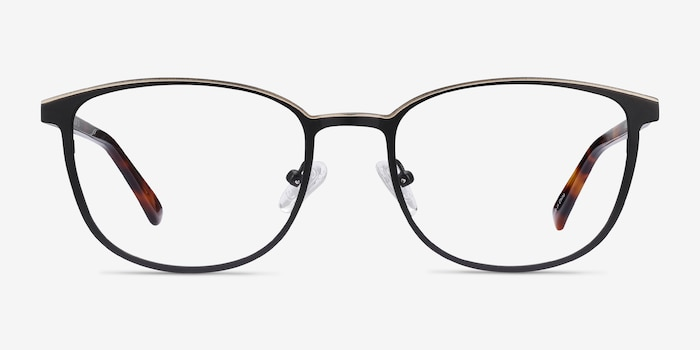 Guide Black & Tortoise Acetate-metal Eyeglass Frames from EyeBuyDirect, Front View