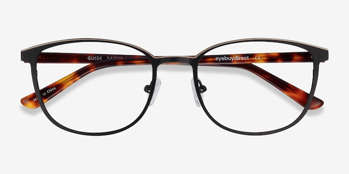 Guide Black & Tortoise Acetate-metal Eyeglass Frames from EyeBuyDirect, Closed View
