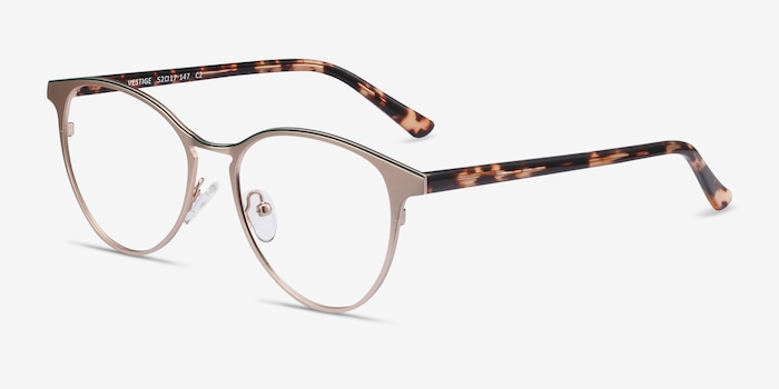 Vestige Gold & Tortoise Acetate Eyeglass Frames from EyeBuyDirect, Angle View