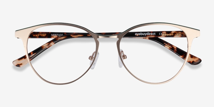 Vestige Gold & Tortoise Acetate Eyeglass Frames from EyeBuyDirect, Closed View