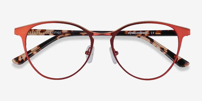 Vestige Red Acetate Eyeglass Frames from EyeBuyDirect, Closed View