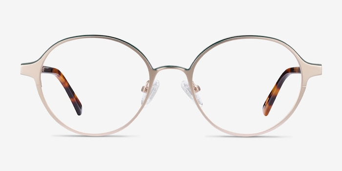 Observer Gold & Tortoise Metal Eyeglass Frames from EyeBuyDirect, Front View