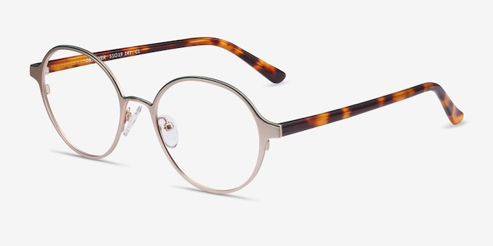 Observer Gold & Tortoise Metal Eyeglass Frames from EyeBuyDirect, Angle View