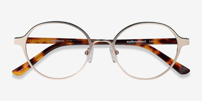 Observer Gold & Tortoise Metal Eyeglass Frames from EyeBuyDirect, Closed View
