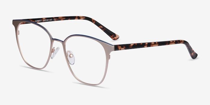 Azimut Gold Metal Eyeglass Frames from EyeBuyDirect, Angle View