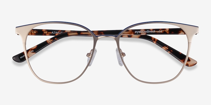 Azimut Gold Metal Eyeglass Frames from EyeBuyDirect, Closed View