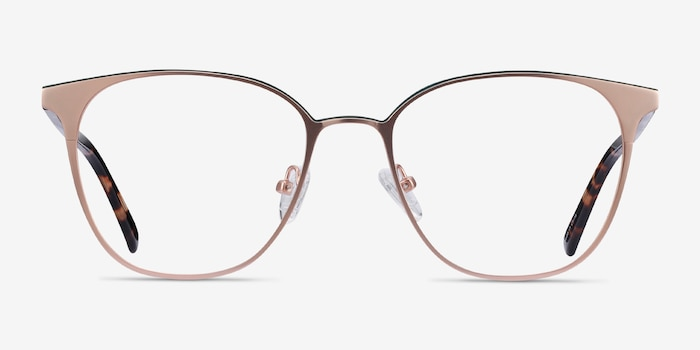 Azimut Rose Gold Acetate Eyeglass Frames from EyeBuyDirect, Front View
