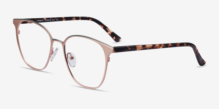 Azimut Rose Gold Acetate Eyeglass Frames from EyeBuyDirect, Angle View