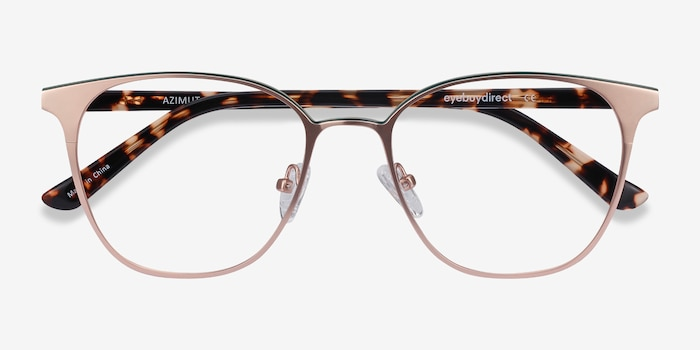 Azimut Rose Gold Acetate Eyeglass Frames from EyeBuyDirect, Closed View
