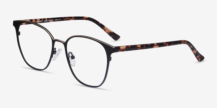 Azimut Black Acetate Eyeglass Frames from EyeBuyDirect, Angle View