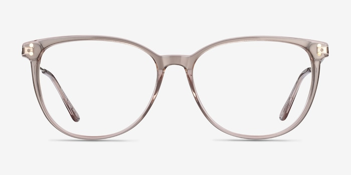 Nebulous Clear Brown Acetate Eyeglass Frames from EyeBuyDirect, Front View