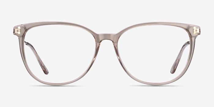 Nebulous Clear Brown Métal Montures de Lunettes d'EyeBuyDirect, Vue de Face