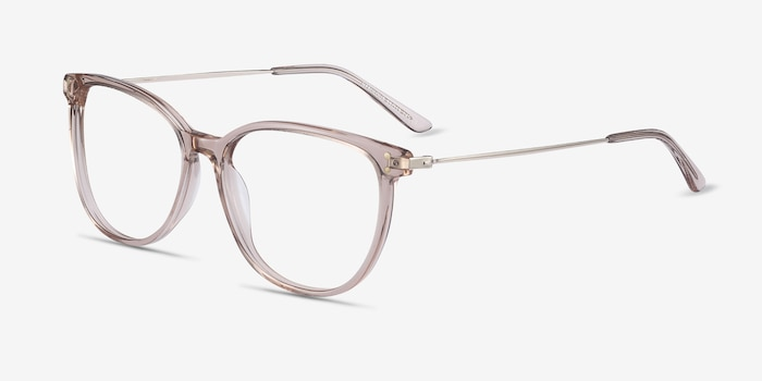 Nebulous Clear Brown Acetate-metal Eyeglass Frames from EyeBuyDirect, Angle View