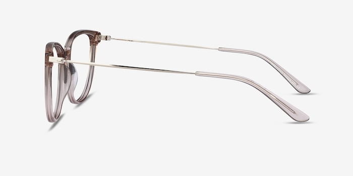 Nebulous Clear Brown Acetate Eyeglass Frames from EyeBuyDirect, Side View