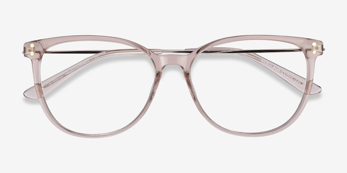 Nebulous Clear Brown Acetate Eyeglass Frames from EyeBuyDirect, Closed View