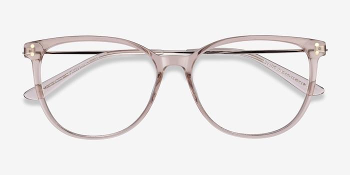 Nebulous Clear Brown Métal Montures de Lunettes d'EyeBuyDirect, Vue Rapprochée