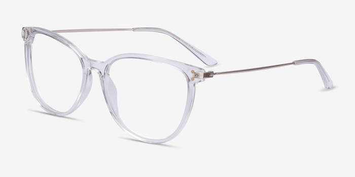 Nebulous Clear Acetate Eyeglass Frames from EyeBuyDirect, Angle View
