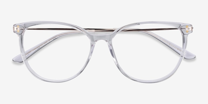 Nebulous Clear Acetate Eyeglass Frames from EyeBuyDirect, Closed View