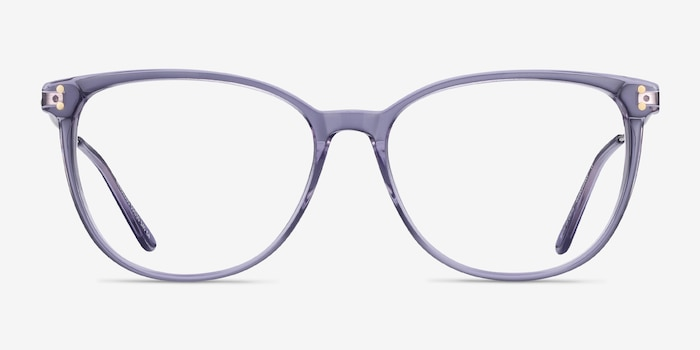 Nebulous Clear Purple Acetate Eyeglass Frames from EyeBuyDirect, Front View