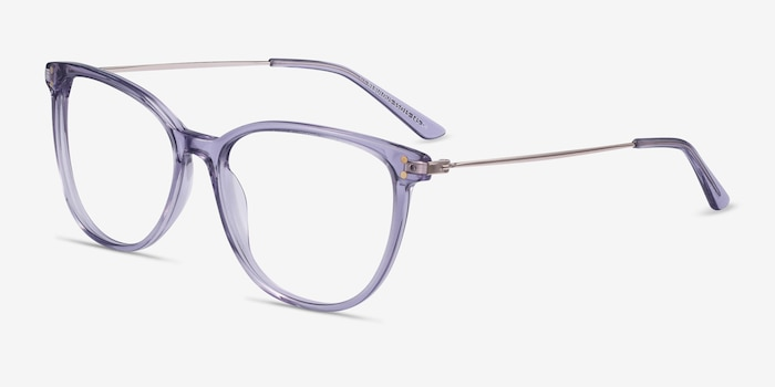 Nebulous Clear Purple Acetate Eyeglass Frames from EyeBuyDirect, Angle View