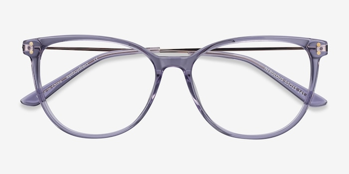 Nebulous Clear Purple Acetate Eyeglass Frames from EyeBuyDirect, Closed View