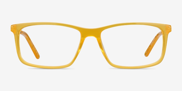 Marvel Yellow Acetate-metal Eyeglass Frames from EyeBuyDirect, Front View