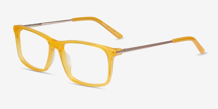Marvel Yellow Acetate-metal Eyeglass Frames from EyeBuyDirect, Angle View