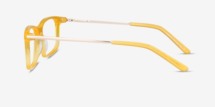 Marvel Yellow Acetate-metal Eyeglass Frames from EyeBuyDirect, Side View