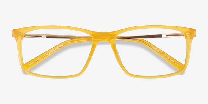 Marvel Yellow Acetate-metal Eyeglass Frames from EyeBuyDirect, Closed View