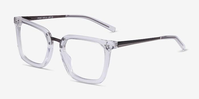 Poise Clear Metal Eyeglass Frames from EyeBuyDirect, Angle View