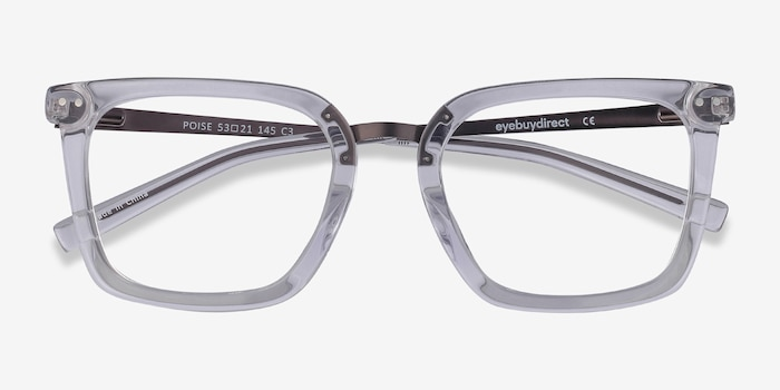 Poise Clear Metal Eyeglass Frames from EyeBuyDirect, Closed View