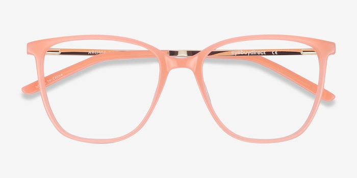 Aroma Coral Metal Eyeglass Frames from EyeBuyDirect, Closed View