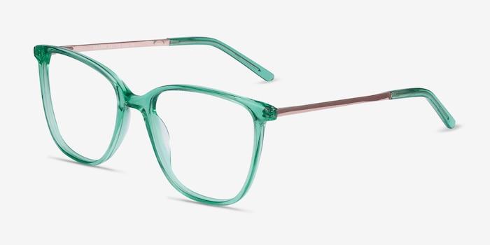 Aroma Emerald Green Métal Montures de Lunettes d'EyeBuyDirect, Vue d'Angle